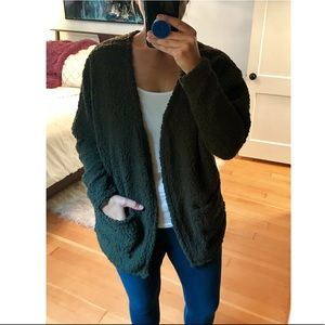 SHEIN Dark Olive Green Cardigan Sweater